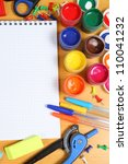 school accessories and checked... | Shutterstock . vector #110041232