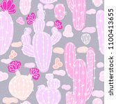 seamless pattern with cactuses. ... | Shutterstock .eps vector #1100413655
