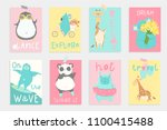 super cute bright summer cards  ... | Shutterstock .eps vector #1100415488