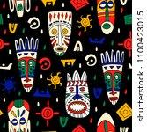 hand dfrawn african tribal... | Shutterstock .eps vector #1100423015