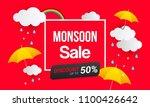 monsoon sale banner vector... | Shutterstock .eps vector #1100426642