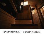 sauna  wooden interior baths ... | Shutterstock . vector #1100442038