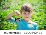 bio farm sign in the hands of a ...   Shutterstock . vector #1100442476