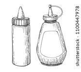 ketchup  mustard or mayonnaise... | Shutterstock . vector #1100447978