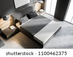 top view of a gray bedroom... | Shutterstock . vector #1100462375