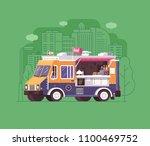 city street food wagon in flat... | Shutterstock .eps vector #1100469752