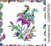beautiful watercolor flowers ... | Shutterstock . vector #1100470235