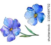 blue flax. floral botanical... | Shutterstock . vector #1100489732