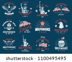 set of 4th july vintage emblem. ... | Shutterstock .eps vector #1100495495