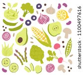 vector illustration of fruits... | Shutterstock .eps vector #1100497616