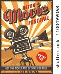 cinema vintage colour poster... | Shutterstock .eps vector #1100499068