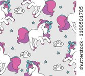 seamless pattern with unicorns... | Shutterstock .eps vector #1100501705
