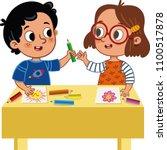 two cute school children... | Shutterstock .eps vector #1100517878