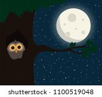 cute owl sit at hollow under... | Shutterstock .eps vector #1100519048