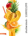 splash of juice and sweet... | Shutterstock .eps vector #1100521295