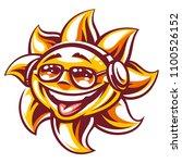 art of happy sun in sunglasses... | Shutterstock .eps vector #1100526152