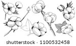 cotton flower in a style... | Shutterstock . vector #1100532458
