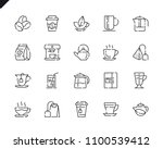 simple set coffee and tea line...   Shutterstock .eps vector #1100539412