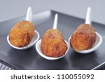 closeup of plate with spanish croquettes served as tapas - stock photo