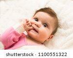 cute adorable 8 months baby... | Shutterstock . vector #1100551322