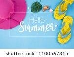 hello summer text on blue... | Shutterstock . vector #1100567315