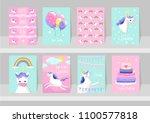 big set of cute unicorn cards.... | Shutterstock .eps vector #1100577818