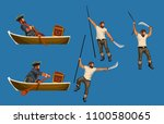 pirate detailed set | Shutterstock .eps vector #1100580065