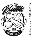 hip hop monochrome emblem with... | Shutterstock .eps vector #1100582105
