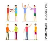 set people happy. young happy... | Shutterstock .eps vector #1100587148