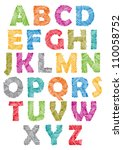 hand drawn and sketched font ... | Shutterstock .eps vector #110058752