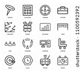 set of 16 icons such as report  ...