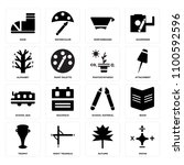 set of 16 icons such as maths ...