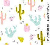 seamless pattern with hand... | Shutterstock .eps vector #1100595428