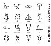 set of 16 icons such as scarab  ...