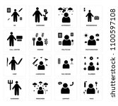 set of 16 icons such as maid ...