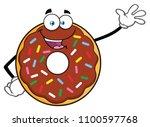 cute chocolate donut cartoon... | Shutterstock .eps vector #1100597768