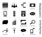 set of 16 icons such as setting ...
