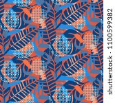 jungle pattern. red and blue... | Shutterstock .eps vector #1100599382