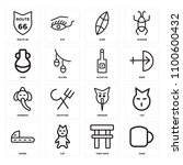 set of 16 icons such as sake ...