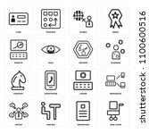 set of 16 icons such as desk...