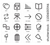 set of 16 icons such as push...