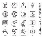 set of 16 icons such as info ... | Shutterstock . vector #1100604962