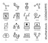 set of 16 icons such as... | Shutterstock . vector #1100604995