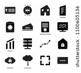 set of 16 icons such as  cloude ...