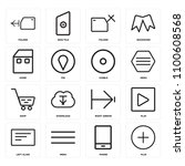 set of 16 icons such as plus ...