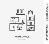 home office  study room flat... | Shutterstock .eps vector #1100610578