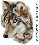 realistic vector wolf  ... | Shutterstock .eps vector #1100617385