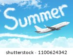 word summer drawn from clouds... | Shutterstock . vector #1100624342