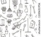 vector hand drawn seamless... | Shutterstock .eps vector #1100631956
