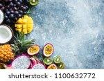 fresh tropical fruits exotic... | Shutterstock . vector #1100632772